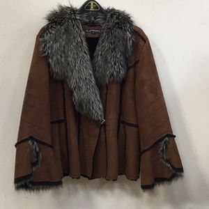 Faux suede and fur jacket.